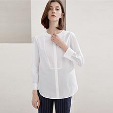 简约圆领白衬衫女士纯棉衬衣上衣5180214220731