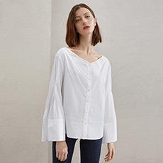 V领白色衬衫女士宽松喇叭袖长袖衬衣5180214226011