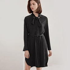 气质飘带竖条纹衬衫女士连衣裙5180224399481