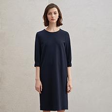 韩版七分袖宽松圆领套头简约气质女士连衣裙5180227397151
