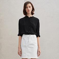 气质立领真丝衬衫女士宽松长袖衬衣5180323222001