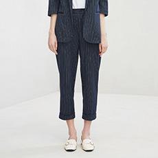 OL气质条纹西装裤女士九分裤5180323350401