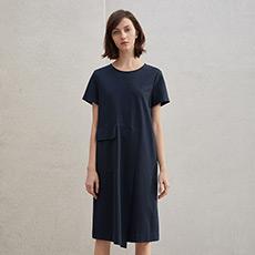 时尚气质女士宽松圆领短袖连衣裙5180326397141