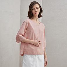 通勤气质圆领粉色衬衫纯棉衬衣女士上衣5180327229211