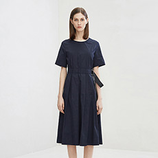 气质收腰修身圆领短袖女士连衣裙5180413399181