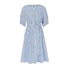 圆领竖条纹收腰修身衬衫女士连衣裙5180422199721