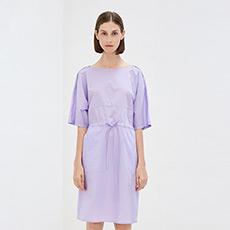 韩版中袖收腰中长裙复古气质纯棉圆领女士连衣裙5180422290572
