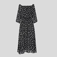 中袖波点裙子圆领雪纺超仙女士连衣裙5180424199621