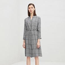 修身收腰V领裙子长款格子女士连衣裙5180433399381