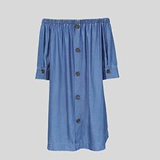 宽松一字领中袖女士牛仔连衣裙5180514399601