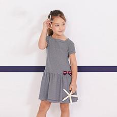 女童短袖条纹连衣裙28650