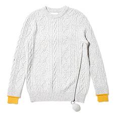 绞花撞色毛球毛衣17021407