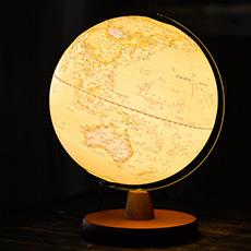复古款中英文对照地球仪 LED灯 木底座