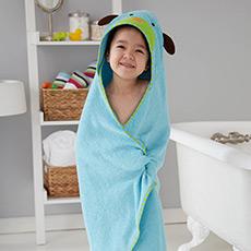 可爱动物园连帽浴巾