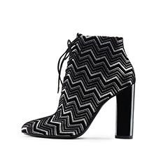 天鹅绒压纹金葱布高跟女短靴 SH320F11130