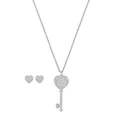 ENGAGED时尚心形耳钉钥匙项链套装