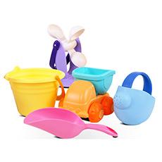 flex儿童宝宝玩沙滩耙软胶玩具挖沙铲子水桶水车浇水器沙滩车